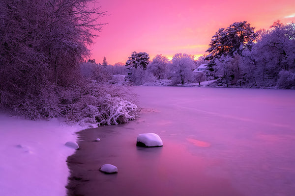 Winter sunset over the Charles River - Auburndale Park, Massachusetts