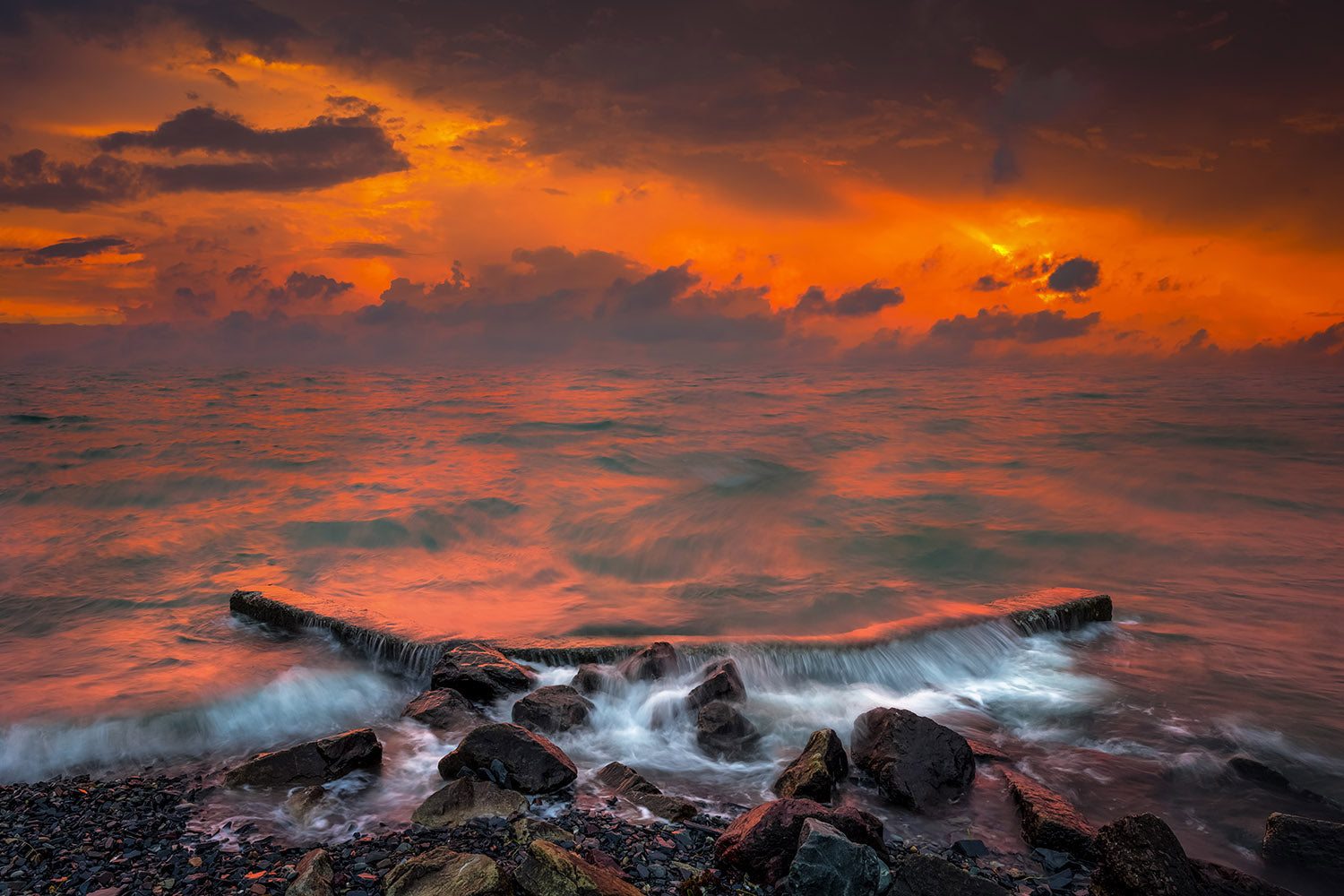 Landscape wall art photography of an intense summer storm at sunset over the Boston Harbor from Deer Island