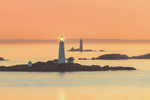 Boston Light and Graves Light at sunrise - Boston Harbor, Massachusetts