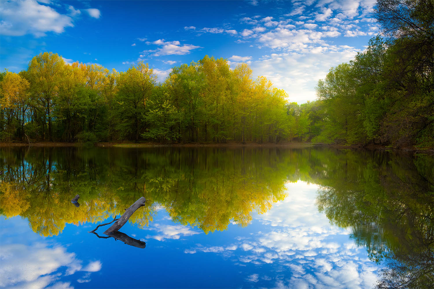 Landscape photo of an afternoon light reflection at Brooks Pond - Medford, Massachusetts