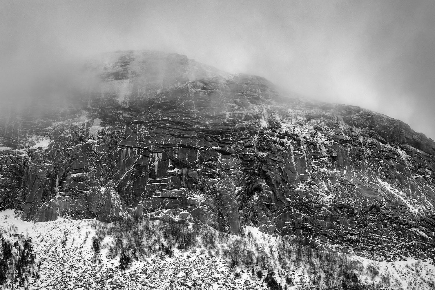 Landscape photo of snow on Cannon Mountain - White Mountains, New Hampshire