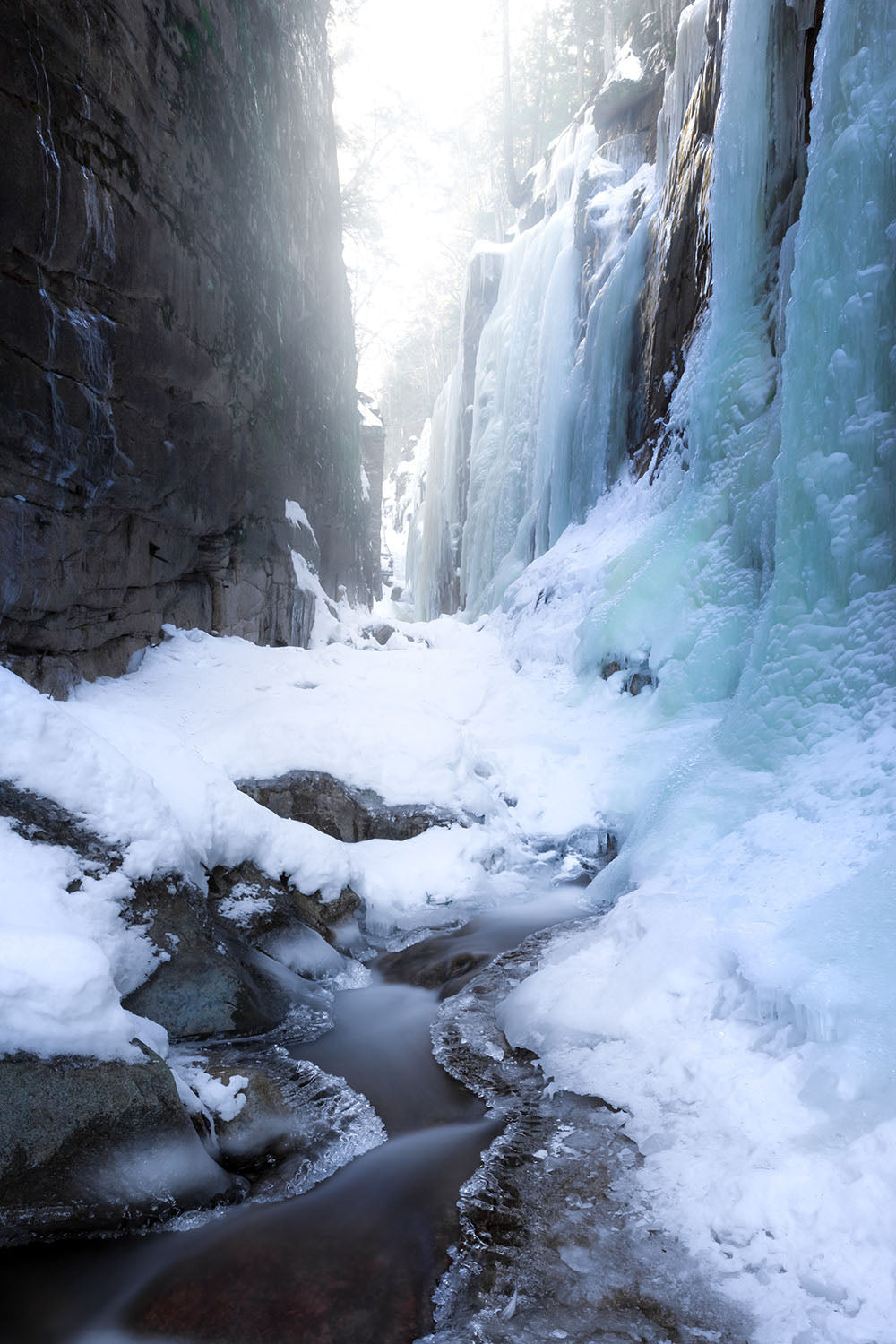 Winter ice at the Flume Gorge - White Mountains, New Hampshire