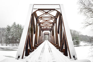 Railroad trestle in snow - White Mountains, New Hampshire
