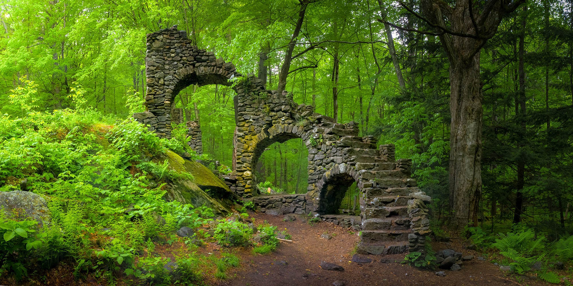Landscape photograph of Madame Sherrie's castle ruins in New Hampshire - by Jonathan Elcock