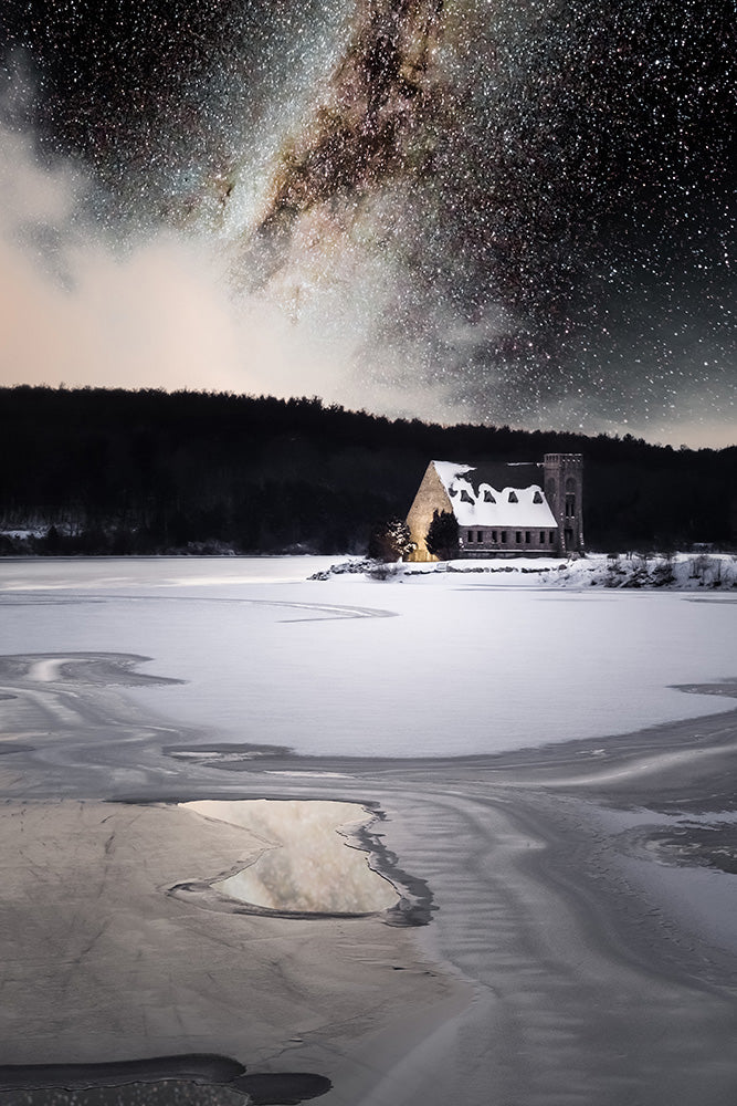 Landscape wall art photography of the Milky Way galaxy over the Old Stone Church at the Wachusett Reservoir