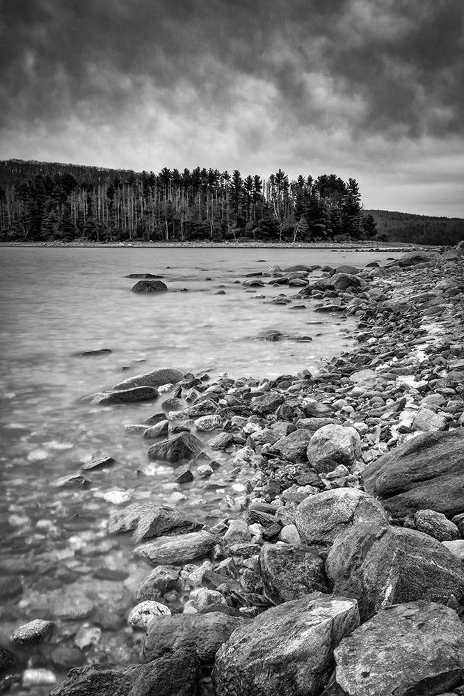Landscape wall art photography of a winter storm over the Quabbin Reservoir in black and white