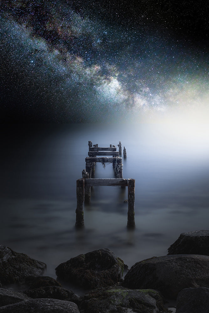 Milky Way galaxy over decaying pilings - Cape Cod, Massachusetts