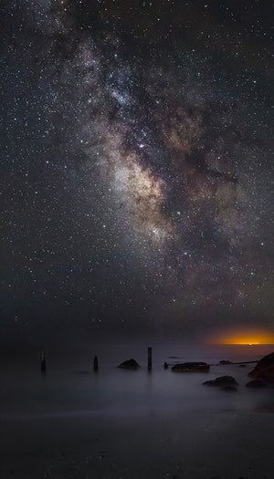 Milky Way galaxy over Montauk glow - Napatree Point, Rhode Island