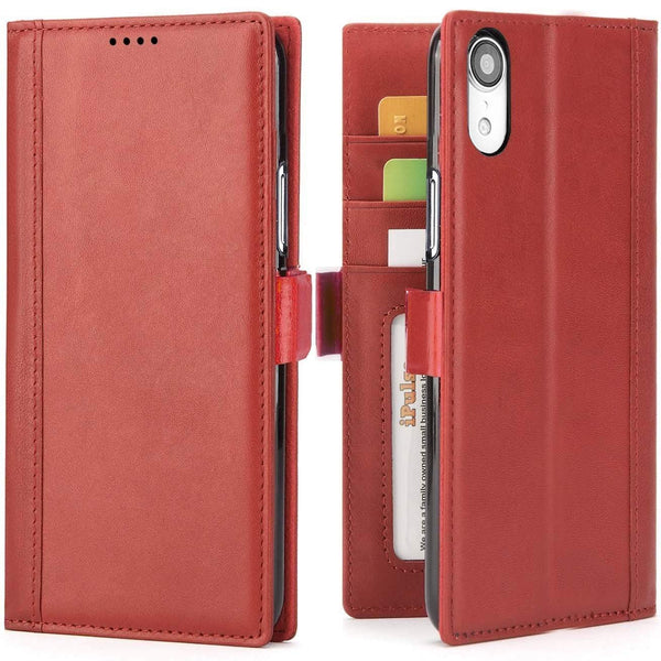 iPhone XR Italian Full Grian Leather Flip Wallet Case  [Red]