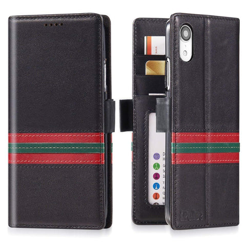 iPhone XR Italian Full Grian Leather Flip Wallet Case  [Milan]
