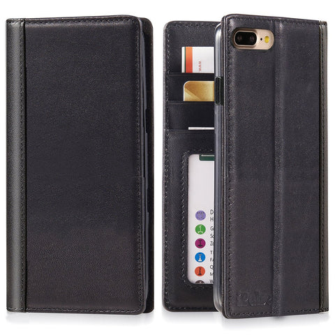 "iPhone 7 Plus (5.5"") Genuine Italian Full Grian Leather Flip Wallet Case [Black]"