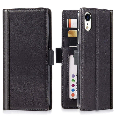 iPhone XR Italian Full Grian Leather Flip Wallet Case  [Black]