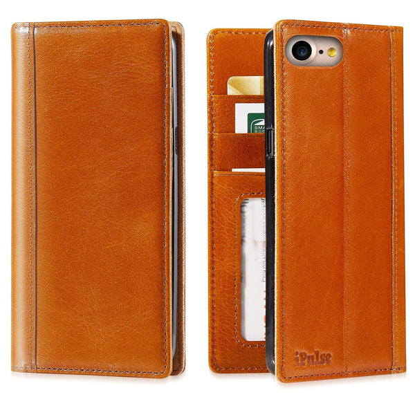 New iPhone 8 Italian Full Grian Leather Flip Wallet Case [Cognac]