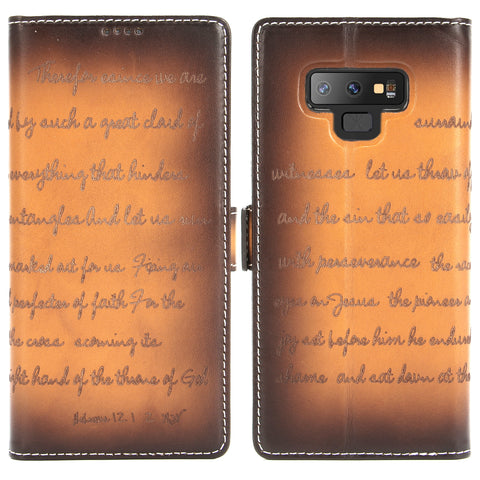 Galaxy Note 9 Case -- Bible Verse Laser Engraved Italian Full Grain Leather Flip Wallet Case