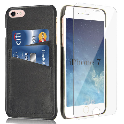 iPhone 7  Card Case -- Full Grain Leather overlay on PC with Tempered Glass Screen Protector --Black