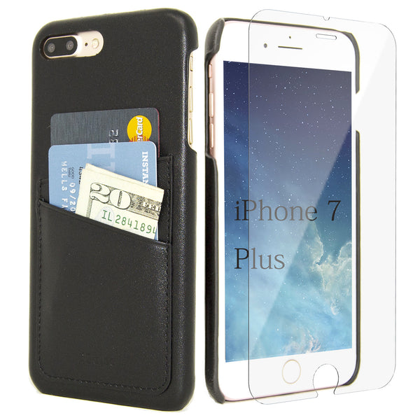iPhone 7 Plus Card Case -- Full Grain Leather overlay on PC with Tempered Glass Screen Protector