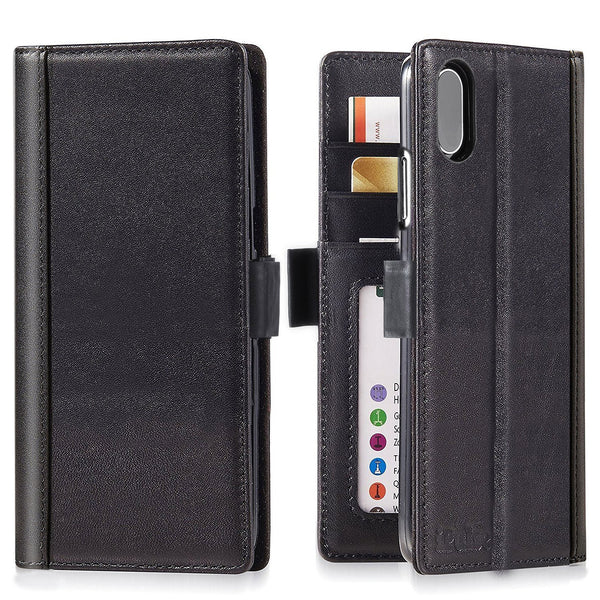 iPhone XS Max Italian Full Grian Leather Flip Wallet Case For iPhone XS Max [Black]
