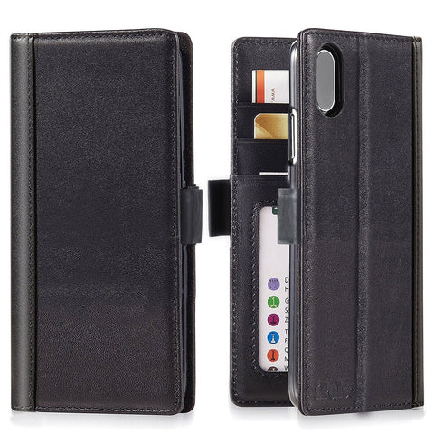 iPhone X Italian Full Grian Leather Flip Wallet Case For iPhone X [Black]