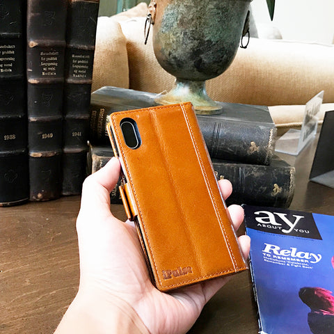 iPhone X Italian Full Grian Leather Flip Wallet Case For iPhone X [Cognac]