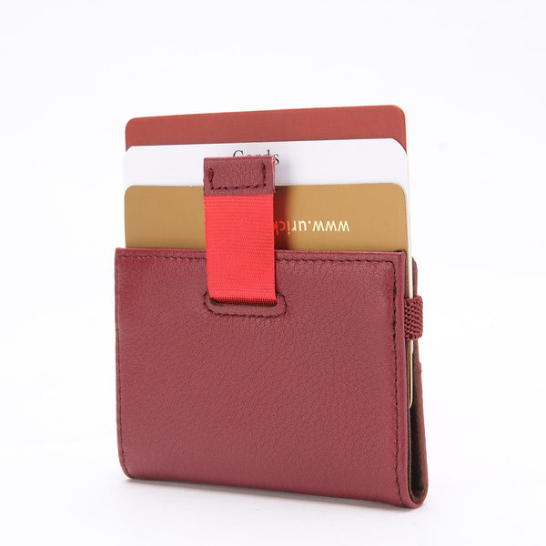 Minimalist Wallet - Tokyo Series Super Slim Mini Credit Card Case - Wine