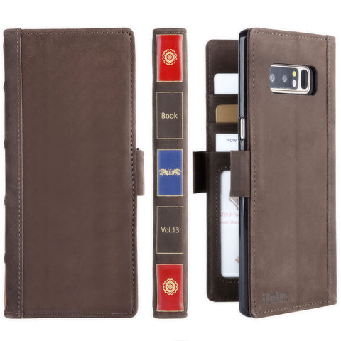 Vintage Book Samsung Galaxy Note 8 Italian Full Grian Leather Flip Wallet Case