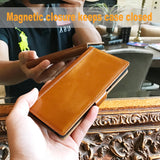 Samsung Galaxy Note 8 Italian Full Grian Leather Flip Wallet Case [Cognac]