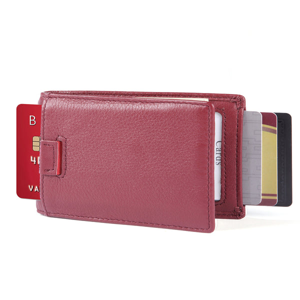 Minimalist Bifold Wallet-- New York Series Full Grain Leather Wallet with Money Clip and Pull Tab - Wine