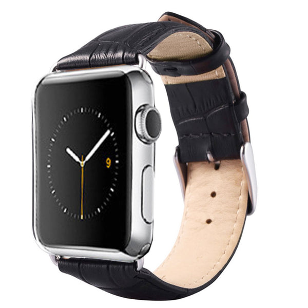 42MM Apple Watch Replacement Band - Florida Series Full Grain Leather With Crocodile Pattern -Black