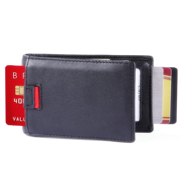 Minimalist Bifold Wallet-- New York Series Full Grain Leather Wallet with Money Clip and Pull Tab