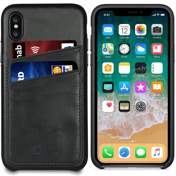 iPhone X Card Case -- Full Grain Leather overlay on PC with Tempered Glass Screen Protector --Black