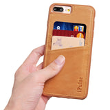 iPhone 7 Plus Genuine Italian Full Grian Leather Snap On Wallet Case With Cards Slots [Brown]