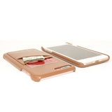 iPhone 7  Card Case -- Full Grain Leather overlay on PC with Tempered Glass Screen Protector --Tan