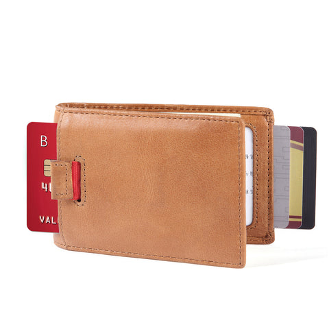 Minimalist Bifold Wallet-- New York Series Full Grain Leather Wallet with Money Clip and Pull Tab - Tan
