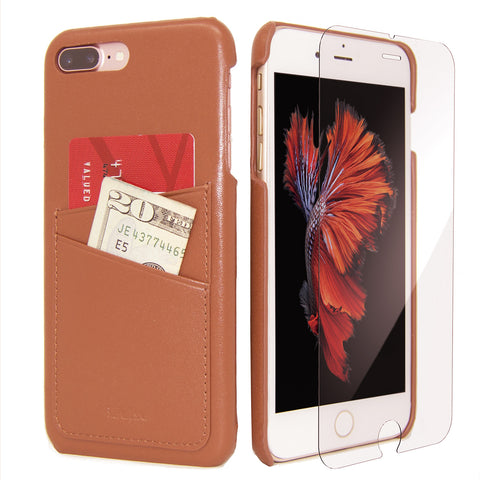 iPhone 7 Plus Card Case -- Full Grain Leather overlay on PC with Tempered Glass Screen Protector --Tan