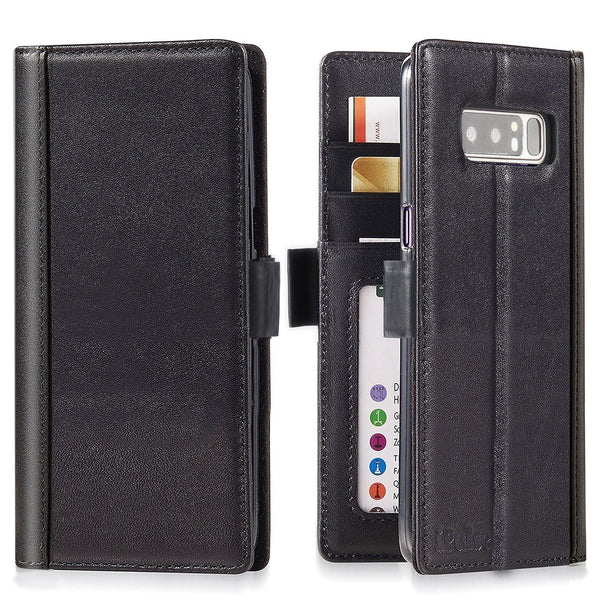 Samsung Galaxy Note 8 Italian Full Grian Leather Flip Wallet Case [Black]