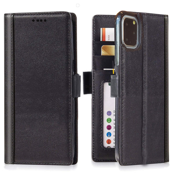 Full Grain Leather Flip Wallet iPhone 11 Pro Max Case with Built-in Stand and Card Slots  –  Black