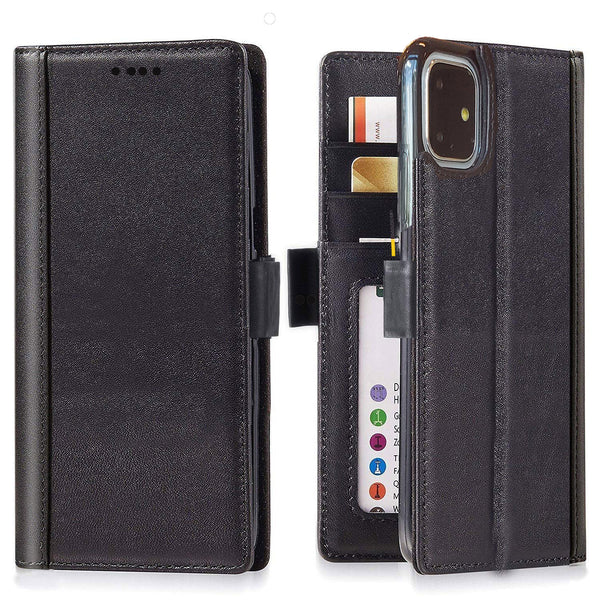 Full Grain Leather Flip Wallet iPhone 11 R Case with Built-in Stand and Card Slots  –  Black