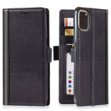 Full Grain Leather Flip Wallet iPhone 11 Pro Case with Built-in Stand and Card Slots  –  Black