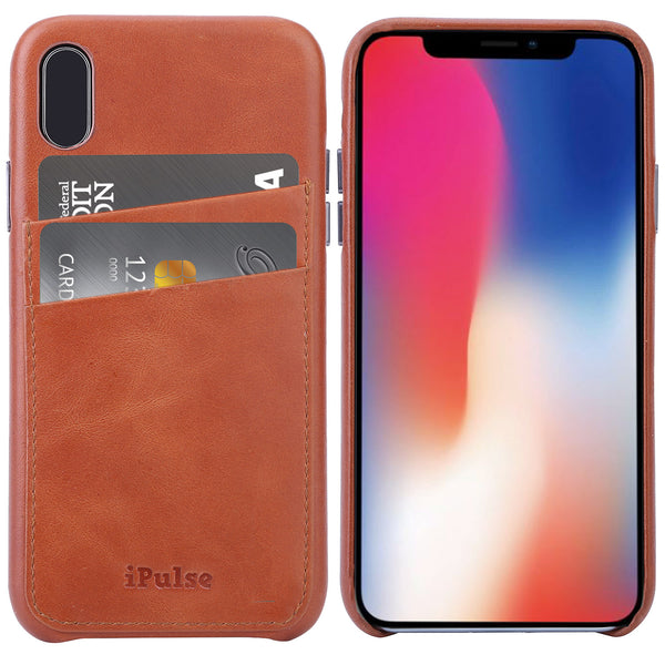 iPhone X Card Case -- Full Grain Leather overlay on PC with Tempered Glass Screen Protector --Tan