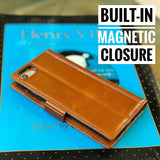 iPhone 8 / iPhone 7 Wallet Case [Not Plus] -- iPulse Genuine Italian Full Grain Leather Handmade Flip Wallet Case For iPhone 8 and iPhone 7 - [Built-in Stand] [Card Slots Holder] - Cognac