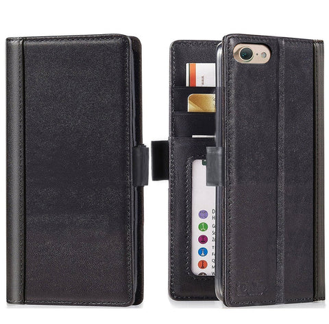 iPhone 8 and iPhone 7 Folio Case -- iPulse Handmade Italian Full Grain Leather Flip Wallet Case with Built-in Stand and Card Slots for iPhone 7 – Vintage Black