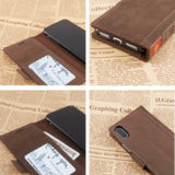 iPhone XS / iPhone X Wallet Case Leather -- iPulse Vintage Book Series Italian Full Grain Leather Handmade Flip Case For iPhone XS/ iPhone X / iPhone 10 with Magnetic closure -- Retro Brown