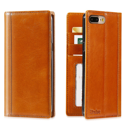"iPhone 8 Plus and 7 Plus (5.5"") Genuine Italian Full Grian Leather Flip Wallet Case [Cognac]"