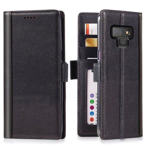 Samsung Galaxy Note 9 Italian Full Grian Leather Flip Wallet Case [Black]