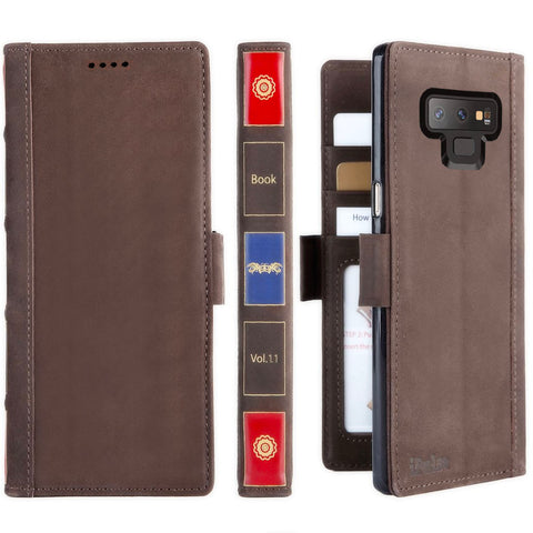 Galaxy Note 9 Case -- Vintage Book Samsung Galaxy Note 9 Italian Full Grian Leather Flip Wallet Case
