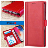 iPhone X Italian Full Grian Leather Flip Wallet Case For iPhone X [Red]