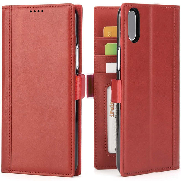 iPhone XS Max Italian Full Grian Leather Flip Wallet Case For iPhone XS Max [Red]