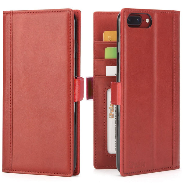 iPhone 8 Plus and iPhone 7 Plus Case -- Vegetable Tanned Full Grain Leather Wallet Case with Kickstand -- Wine Red