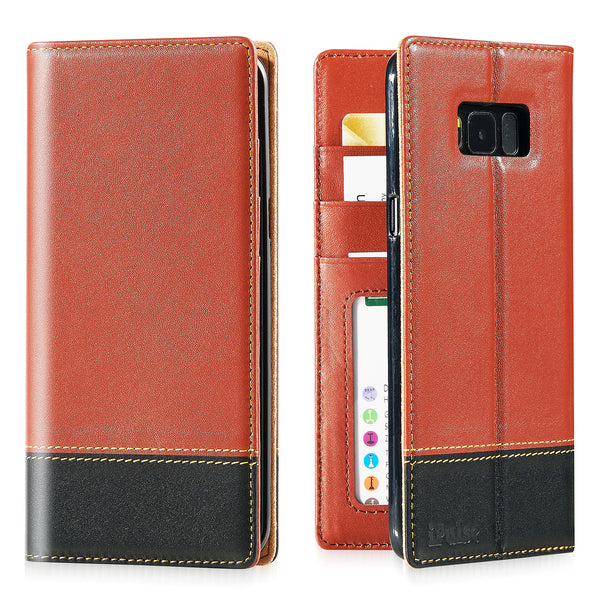 iPulse London Series Full Grain Leather Handmade Case For Samsung Galaxy S8 Plus -- Tan/Black