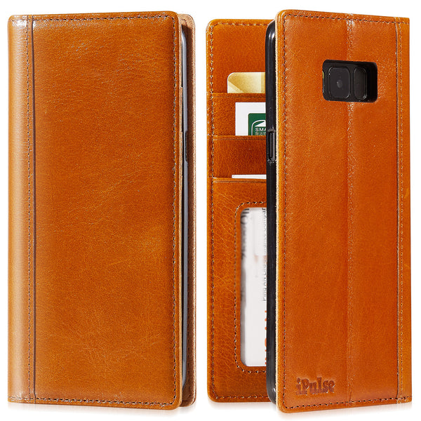 Galaxy S8 Plus Leather Case - iPulse Journal Series Italian Full Grain Leather Wallet Case for Samsung Galaxy S8+ with Built-in Stand -- Cognac